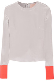 Color-block silk-blend crepe top