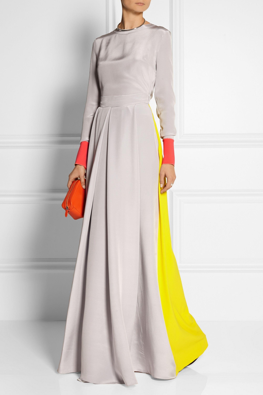 Roksanda Color-block silk-blend crepe top