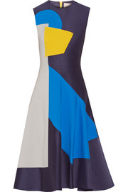 Color-block stretch cotton-blend dress