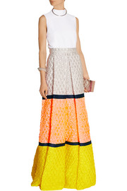 Color-block matelassé maxi skirt