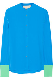 Color-block silk crepe de chine blouse