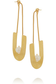 Hammered gold-plated mother-of-pearl earrings