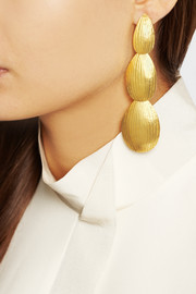 Hervé Van der Straeten Hammered gold-plated clip earrings