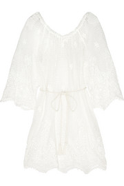 Bridgette floral crochet-paneled cotton-lace kaftan