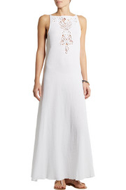 Miguelina Kendell crochet-paneled cotton-gauze dress