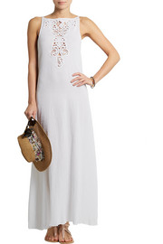 Kendell crochet-paneled cotton-gauze dress