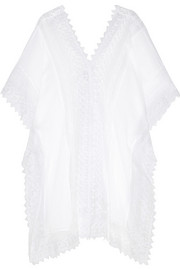Tyra crochet-paneled cotton-gauze kaftan