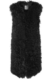 Oversized knitted shearling vest