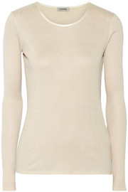 Totême Gstaad ribbed silk and cotton-blend top