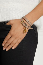 Alexander McQueen Leather, gold-tone and Swarovski crystal wrap bracelet