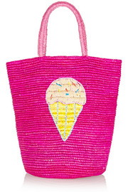 Embellished woven toquilla straw tote