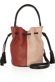 Gaia leather and suede bucket bag