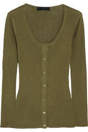 Burberry Prorsum Ribbed-knit silk top
