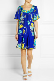Escape embroidered floral-print jersey dress