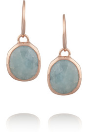 Siren rose gold-plated aquamarine earrings
