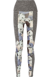 Paneled printed stretch-jersey leggings