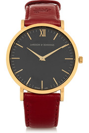 Läder leather and gold-plated watch