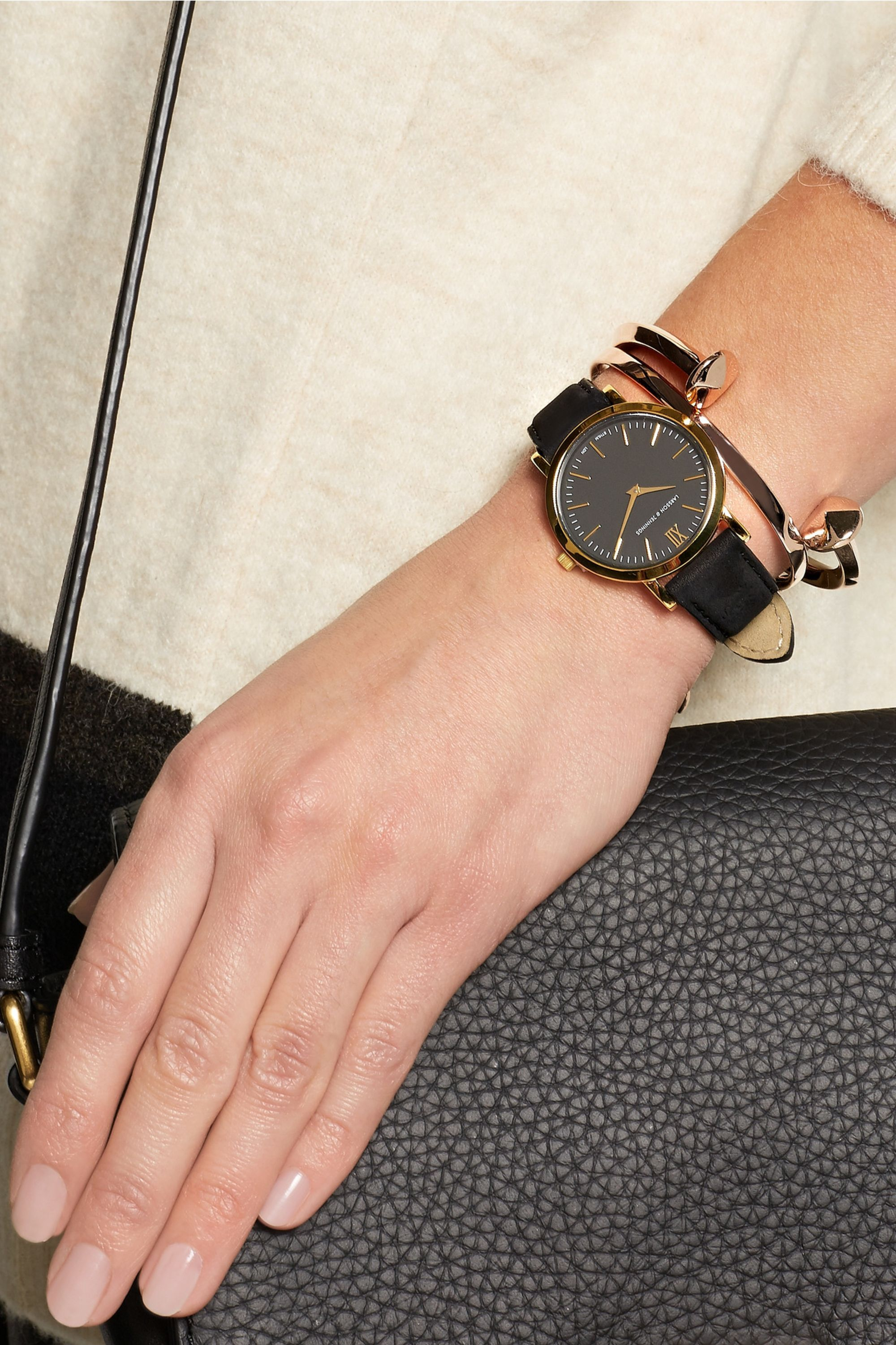 Larsson & Jennings Liten small suede and gold-plated watch