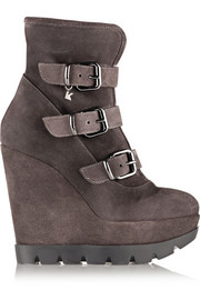 Karl Lagerfeld Shearling-lined suede wedge ankle boots