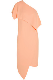 Asymmetric stretch-crepe dress