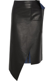 Asymmetric leather skirt