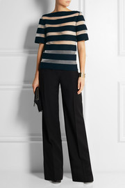 Mesh-striped linen-blend top