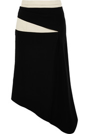 Asymmetric cotton-canvas and crepe skirt
