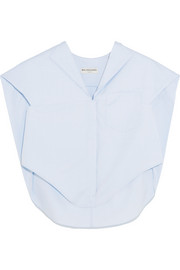 Asymmetric cotton-poplin top