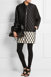 Latticed satin-twill and piqué coat