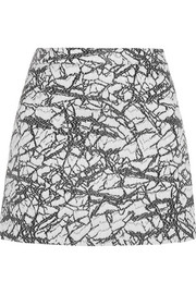 Raffia-effect jacquard mini skirt