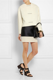 Canvas-trimmed duchesse-satin mini skirt