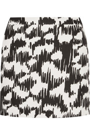 Printed mikado mini skirt