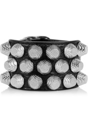 Studded textured-leather bracelet