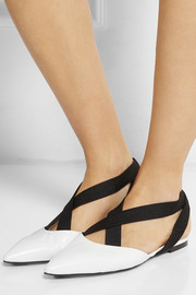 Leather and elastic point-toe flats