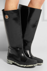 Python-trimmed patent-leather knee boots