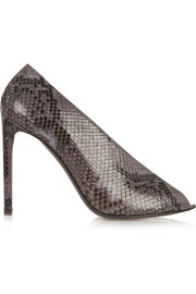 Open-toe python pumps