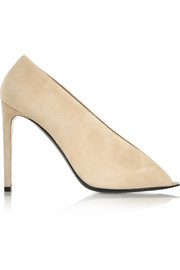 Open-toe suede pumps