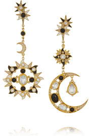 Sun and Moon gold-plated multi-stone earrings