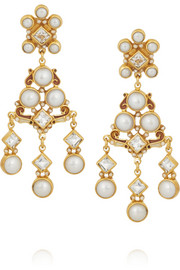 Gold-plated, pearl and topaz earrings