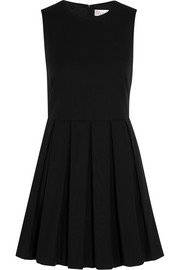 Pleated stretch-cotton piqué mini dress