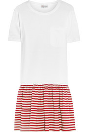 Cotton-jersey and striped silk crepe de chine mini dress