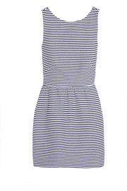 Striped cotton-blend piqué mini dress