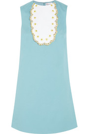 Embellished stretch-cotton piqué mini dress