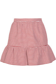Striped woven cotton-blend mini skirt
