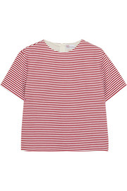 Striped textured cotton-blend top