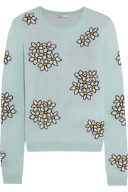 Floral intarsia wool-blend sweater