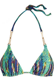Stone printed triangle bikini top