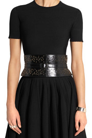 Ellipse laser-cut leather waist belt