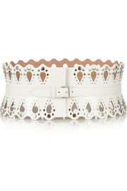 Studded laser-cut leather belt