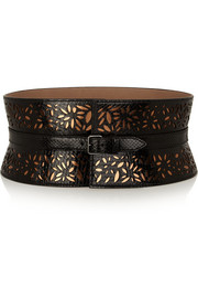 Margarite laser-cut python and metallic leather belt